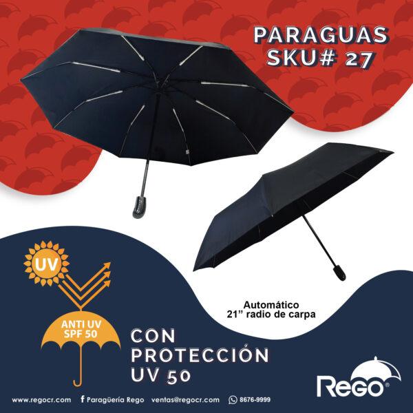 paraguas negro plegable proteccion UV rego